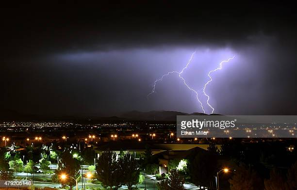 Lightning flashes in the Spring Mountains National Recreation Area during a thunderstorm on July 2 2015 west of Las Vegas Nevada Several rounds of...