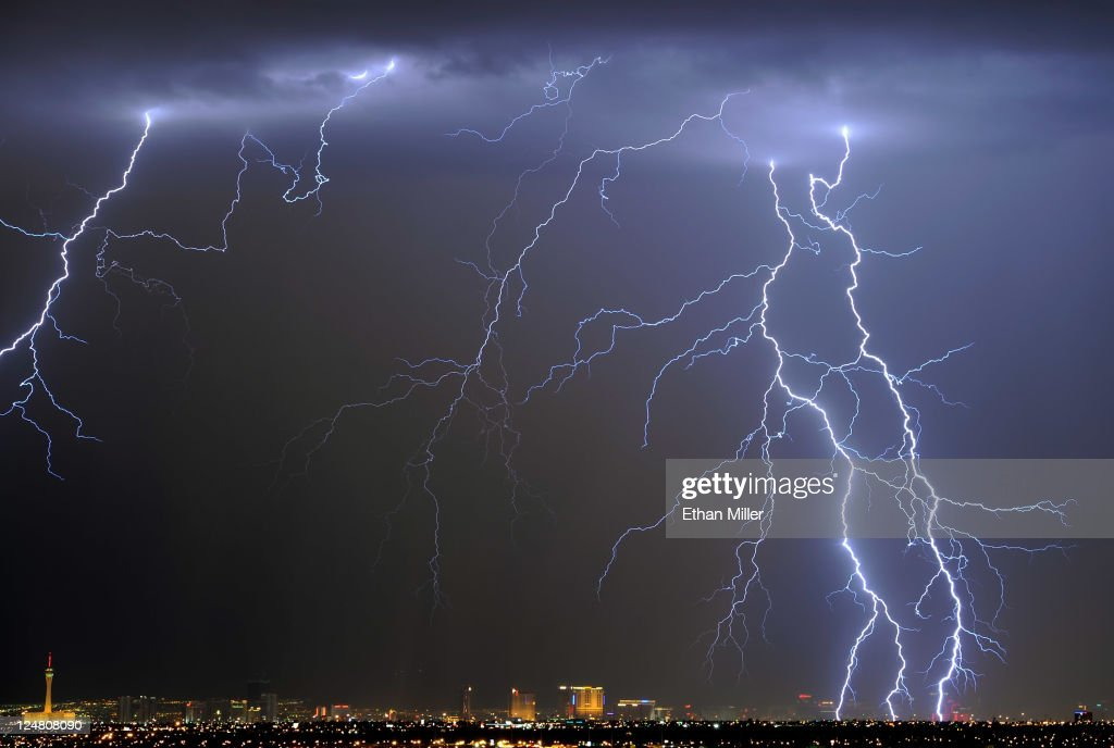 Lightning flashes over the Las Vegas Strip during a thunderstorm early on September 13, 2011 in Las Vegas, Nevada. Stormy weather is expected to continue through Thursday.