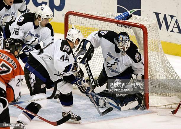 Lightning goalie Sean Burke makes a save at The Wachovia Center in Philadelphia Pa on November 22 2005