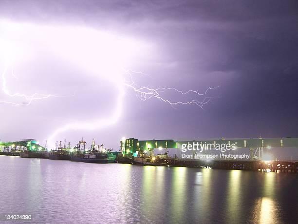 Lightning hitting wharf