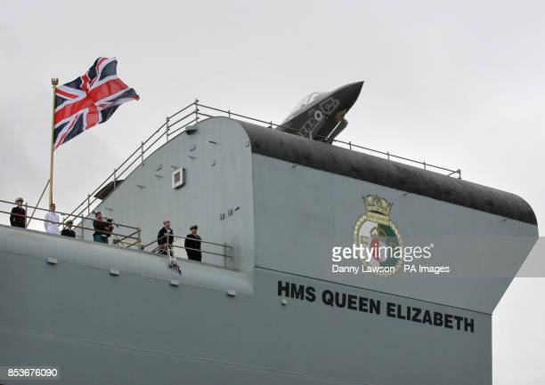 Lightning II sits on the deck of HMS Queen Elizabeth in Rosyth Dockyard Fife as the Queen will formally name the Royal Navy's biggest ever ship with...