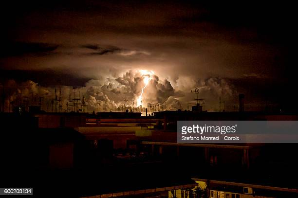 Lightning in the sky during the cyclone Morgana on the outskirts of Rome which is going through the 'Italy the effects of the cyclone Morgana will...