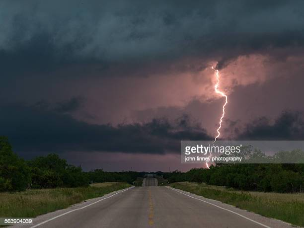 Lightning over a Texas highway