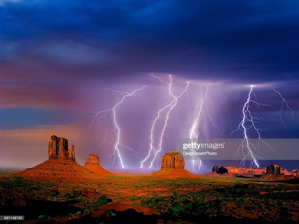 Lightning over Monument valley, Arizona, America, USA