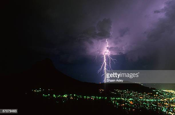 Lightning Over Signal Hill with City Lights at Night