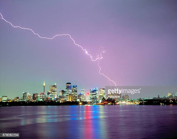 Lightning over the city and harbor Sydney New South Wales Australia