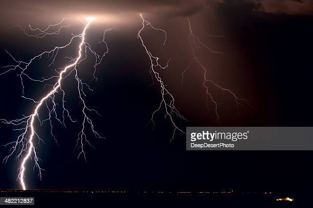 USA, Arizona, Maricopa County, Lightnings over Tonopah
