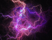 Red and blue colored lightning like abstract space background texture.