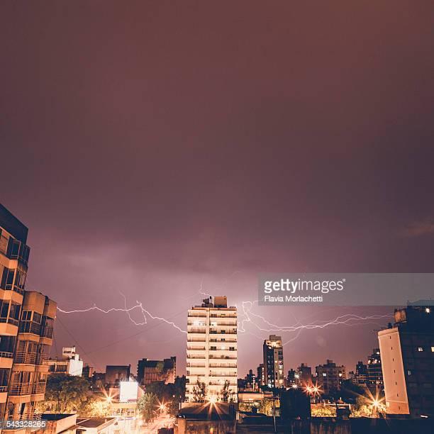 Lightning storm over Rosario city, Argentina