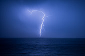 Lightning strike at sea, taken at Canford Cliffs, Bournemouth.
