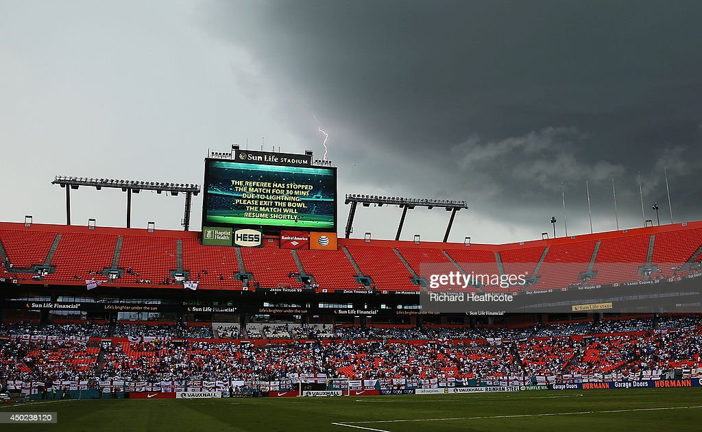 Lightning strikes behind the scoreboard as the match is delayed due to inclement weather during the International Friendly match between England and Honduras at Sun Life Stadium on June 7, 2014 in Miami Gardens, Florida.