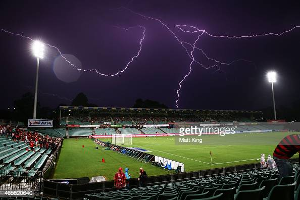 Lightning strikes delay the start of play before the round 21 ALeague match between the Western Sydney Wanderers and Melbourne City FC at Pirtek...