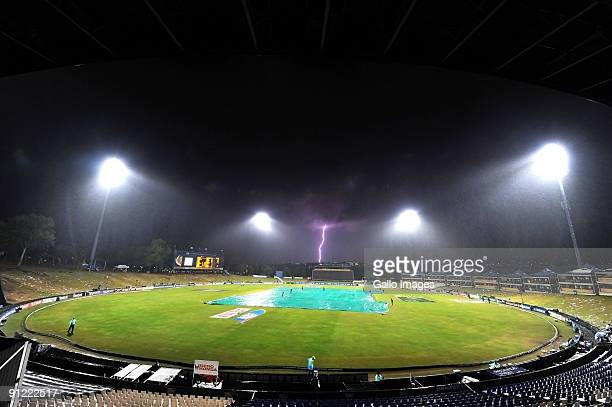 Lightning strikes during a thunder storm which caused the abandonment of the ICC Champions Trophy match between Australia and India played at...