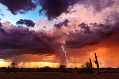 Lightning bolts strike from a colorful sunset storm in the Arizona desert landscape during the summer monsoon.