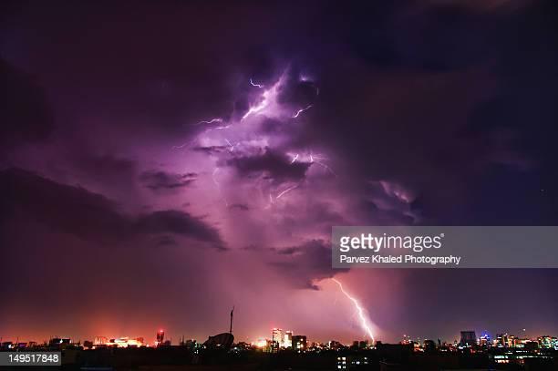 Lightning strikes in city