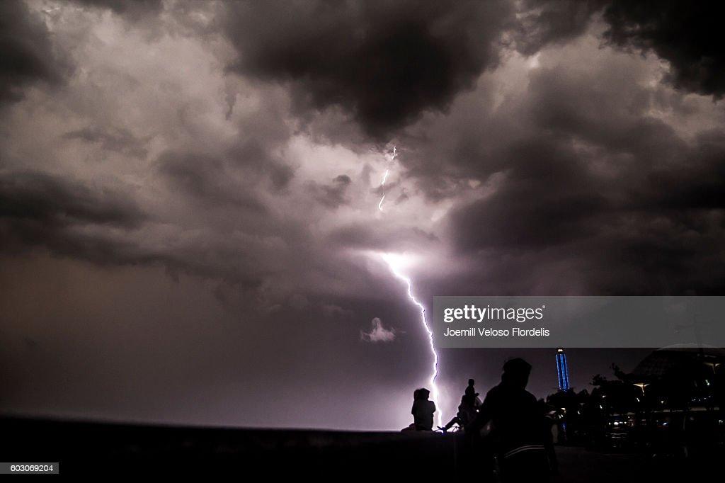Lightning Strikes Manila Bay (Philippines) : Stock Photo