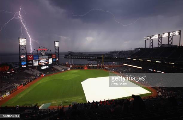 Lightning strikes near ATT Park before the San Francisco Giants game against the Los Angeles Dodgers on September 11 2017 in San Francisco California