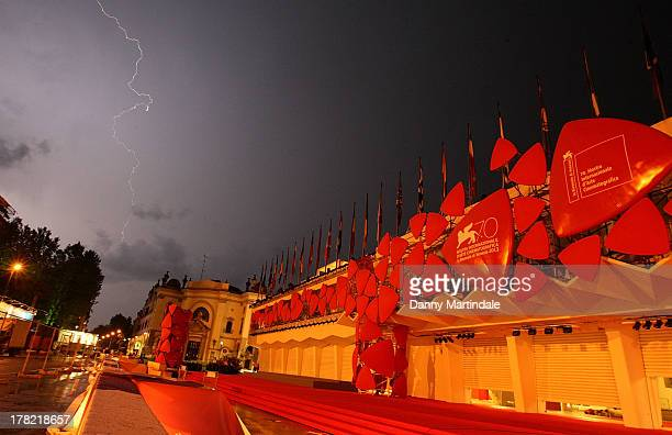 Lightning strikes over the Palazzo del Cinema during the 70th Venice International Film Festival on August 27 2013 in Venice Italy