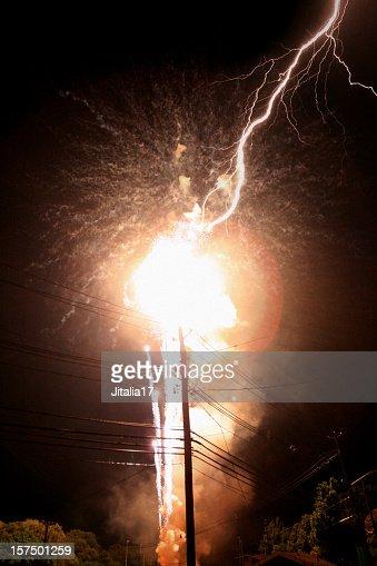 Lightning Strikes Power Transformer - Explosion