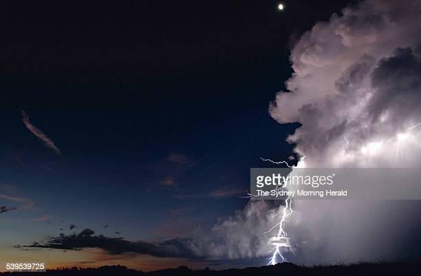 Lightning strikes the Adelaide River floodplain 60km southwest of Darwin during a wet season thunder storm 17 February 2005 SMH Picture by GLENN...
