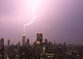 Lightning strikes the Empire State Building July 15 2014 in New York City