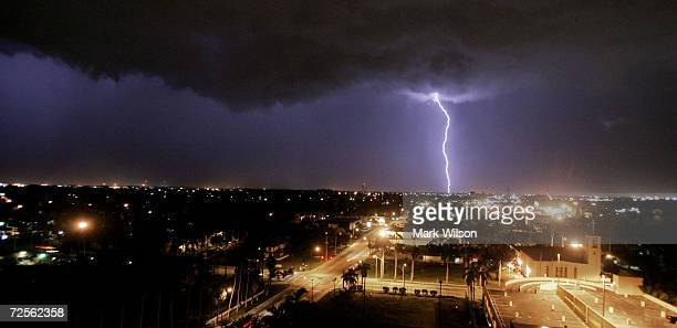 Lightning strikes the ground as a violent thunder storm approaches the area August 16 2004 in Ft Myers Florida The town of Punta Gorda located...