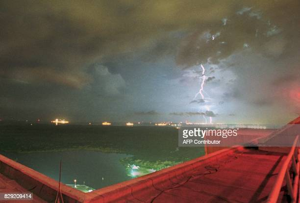 Lightning strikes the grounds of the Kennedy Space Center FL during the countdown to launch the space shuttle Columbia 22 July 1999 NASA was forced...