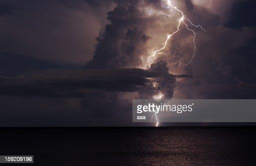 Lightning strikes the Gulf : Stock Photo