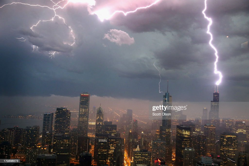 Lightning strikes the Willis Tower (formerly Sears Tower) in downtown on June 12, 2013 in Chicago, Illinois. A massive storm system with heavy rain, high winds, hail and possible tornadoes is expected to move into Illinois and much of the central part of the Midwest today.