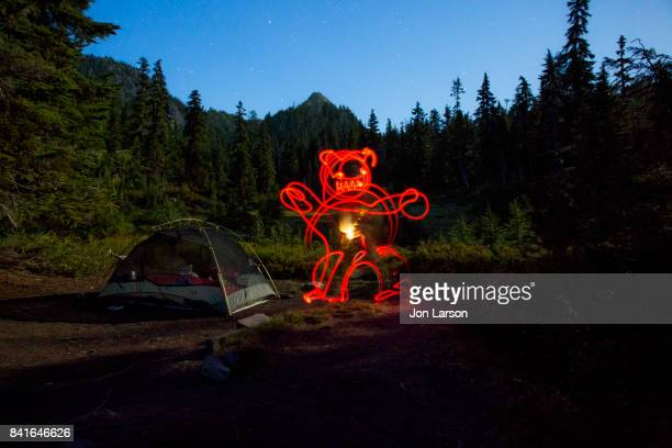 Lightpainting at night in camp