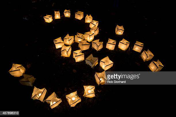 Lights arranged to form an 'Om' symbol are seen in the grounds of Bhaktivedanta Manor Hare Krishna Temple during Diwali celebrations on October 26...