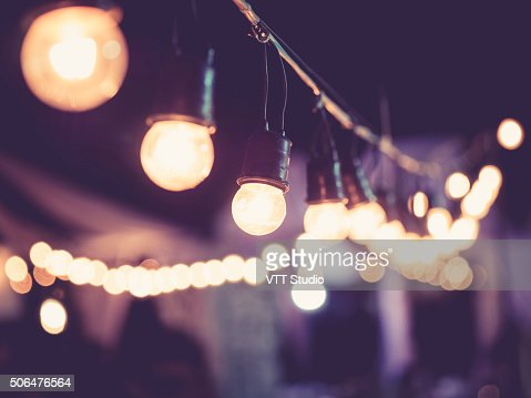 Lights decoration Event Festival outdoor Vintage tone : Stock Photo