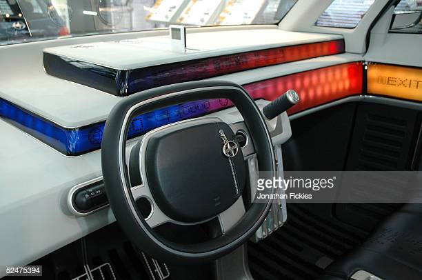 Lights glow on the trilevel dashboard in the Scion t2B concept car during the 2005 New York International Auto Show March 24 2005 in New York City...
