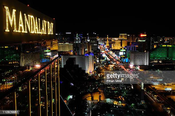 Lights go back on along the Las Vegas Strip after Earth Hour from the House of Blues Foundation Room inside the Mandalay Bay Resort Casino March 26...