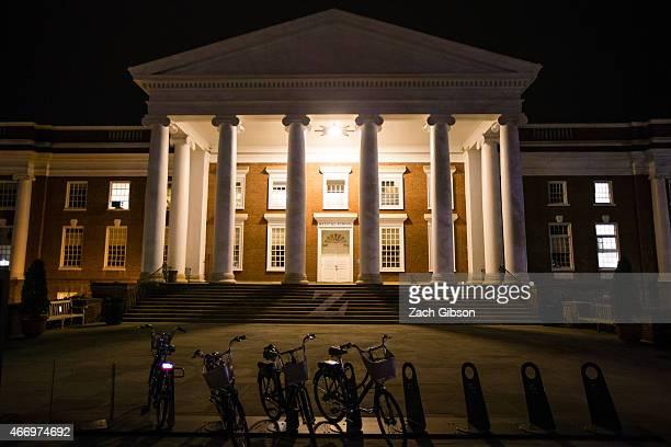 Lights illuminate a building of University of Virginia School of Medicine on March 19 2015 in Charlottsville Virginia Martese Johnson is the black...