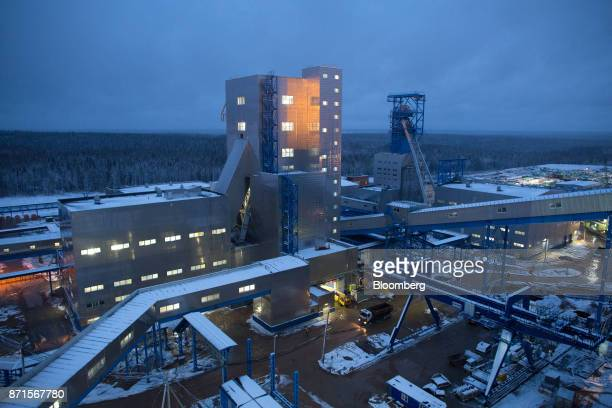 Lights illuminate a plant facility above the underground potash mine at the Usolskiy Potash Complex operated by EuroChem Group AG at...