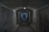 Lights illuminate an underground gallery of a Spanish civil war era bomb shelter in Almeria on May 23 2016 There were 67 entrances spread out across...