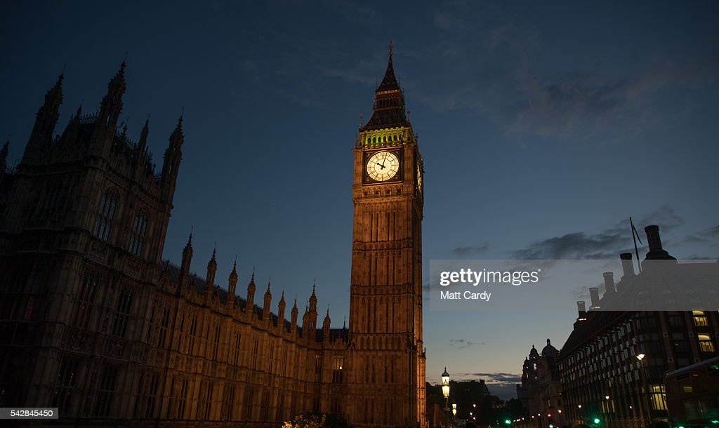 Lights illuminate Big Ben and the Houses of Parliament on June 24, 2016 in London, England. The results from the historic EU referendum has now been declared and the United Kingdom has voted to LEAVE the European Union.