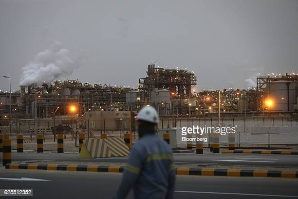 Lights illuminate the aluminium plant at the Ras Al Khair Industrial City operated by the Saudi Arabian Mining Co in Ras Al Khair Saudi Arabia on...