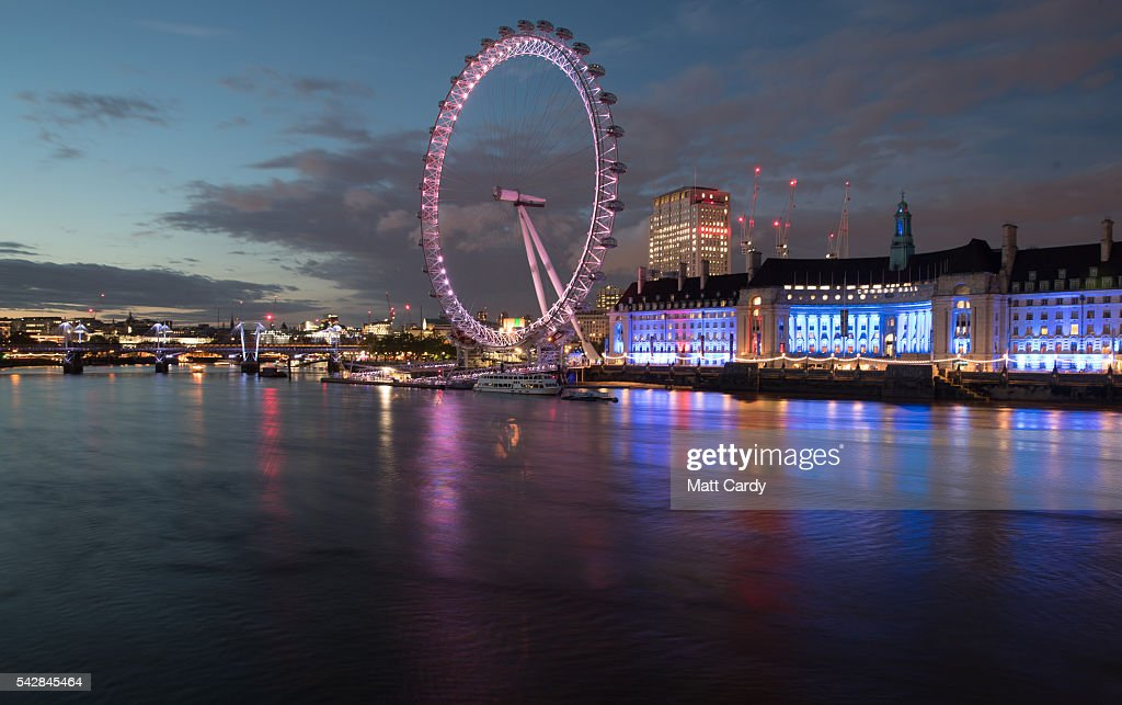 Lights illuminate the London Eye on June 24, 2016 in London, England. The results from the historic EU referendum has now been declared and the United Kingdom has voted to LEAVE the European Union.