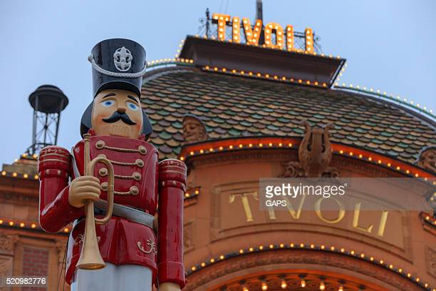 lights illuminate the main entrance to Tivoli Gardens