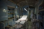 Lights illuminate the operating theatre in an underground gallery of a Spanish civil war era bomb shelter in Almeria on May 23 2016 There were 67...