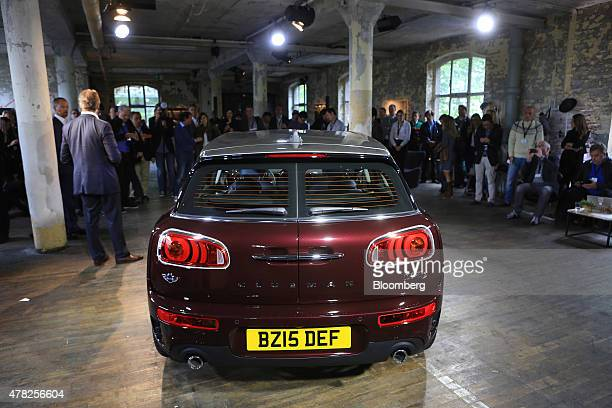 Lights illuminate the rear doors of the new Mini Clubman automobile manufactured by Bayerische Motoren Werke AG as it is unveiled in Berlin Germany...