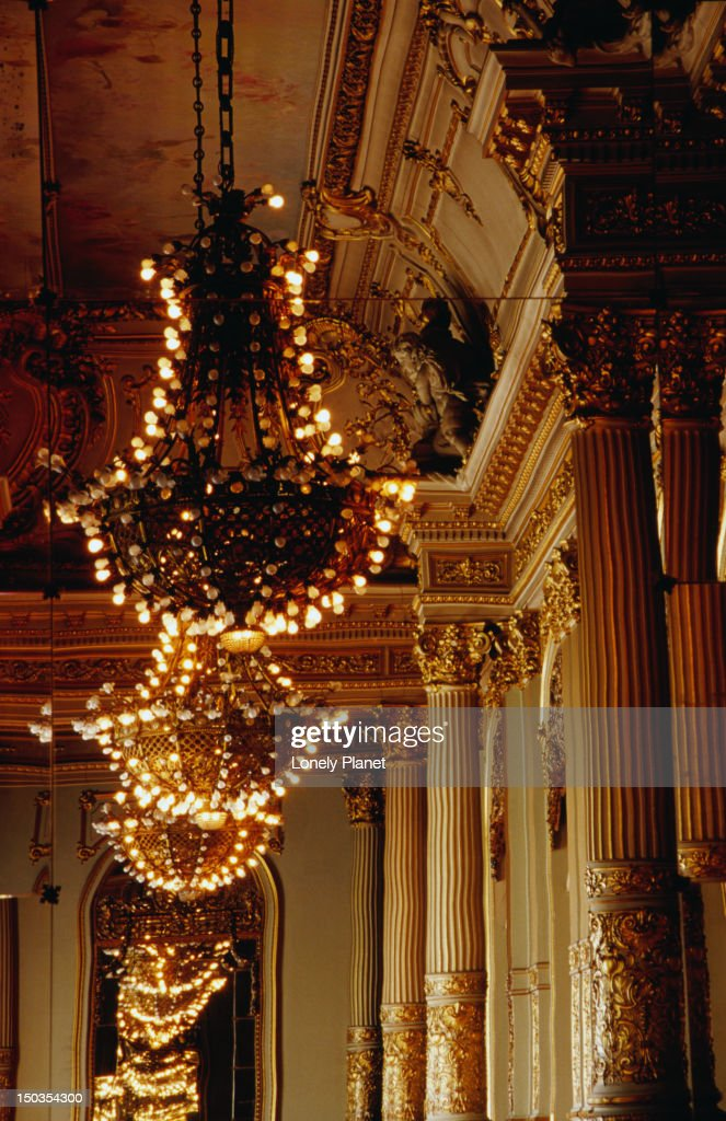 Lights in Salon Dorando (Golden Room) in Teatro Colon. : Stock Photo
