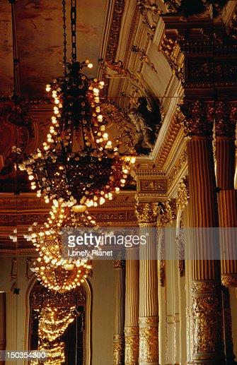 Lights in Salon Dorando (Golden Room) in Teatro Colon. : Stock Photo