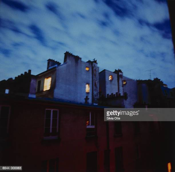 Lights in Windows of House