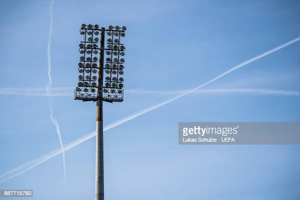 Lights of the stadium are seen prior to the FIFA 2018 World Cup Qualifier between Luxembourg and France at Stade Josy Barthel on March 25 2017 in...