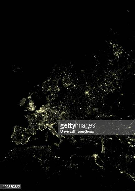 Lights of Western Europe at night from space Coloured image derived from satellite data showing Western Europe at night This image is a mosaic of...