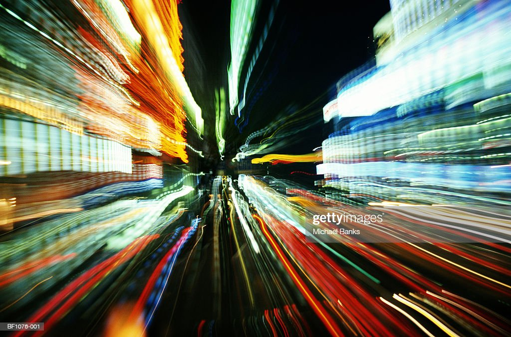 Lights on city street, night (long exposure) : Stock Photo
