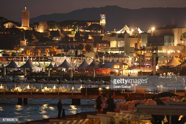 Lights shimmer in the marina and along the beachfront near the Croisette during the 62nd International Film Festival on May 18 2009 in Cannes France...